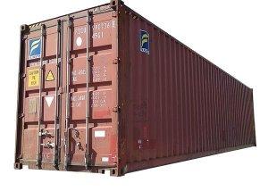 Czerwony kontener budowlany